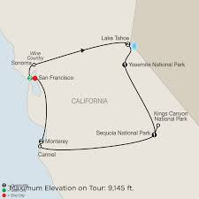 Map From San Francisco To Napa Valley by Northern California U0026 Wine Country Tour Globus