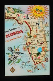 Clearwater Zip Code Map by 1950s State Map Of Florida Landmarks Icons Drinking Alligator Fl