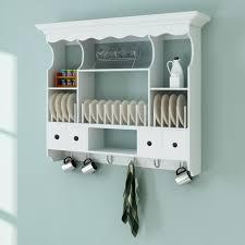 armoire murale blanc de cuisine pour épices avec crochets en bois et