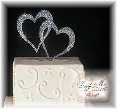 heart cake topper heart rhinestone wedding cake topper