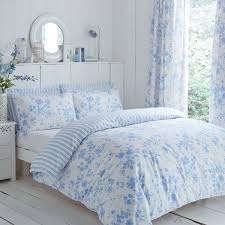 Blue And White Floral Curtains Amelie Floral Toile Pencil Pleat Lined Curtains
