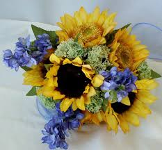 country wedding bouquets sunflower bridal bouquet silk flowers country weddings blue yellow