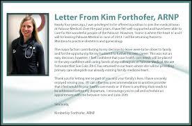 Letter Announcing New Business Announcing Provider Departure Kim Forthofer Arnp U2013 Palouse Medical