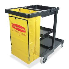 Rubbermaid Bag U0026 Kitchen Wrap Rubbermaid Janitor Cart With Zipper Yellow Vinyl Bag 3 Shelf 4