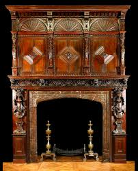 antique english carved wood fireplace mantle and overmantel in oak