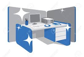 Blue Computer Desk by Clean Office Desk Workstation Royalty Free Cliparts Vectors