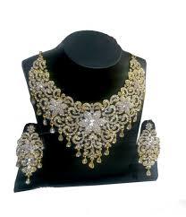 necklace set white ad studded bridal necklace set