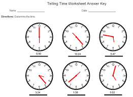 telling time answer key sample