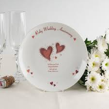 anniversary plate personalised bone china plate ruby anniversary hearts
