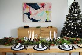 black and white christmas table styling with native australian