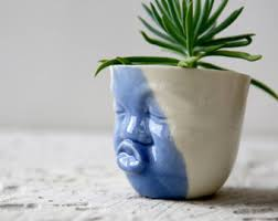 Ceramic Succulent Planter by Ceramic Succulent Planter Set Small Pot Face Planters Head