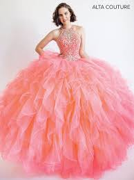 coral pink quinceanera dresses ruffled halter quinceanera dress by alta couture mq3008 abc fashion
