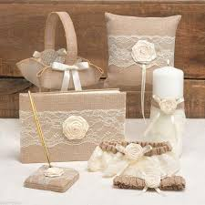 wedding guest book set rustic country 6pc pillow basket guest book pen garter pillow
