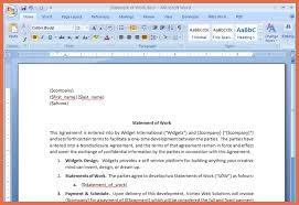 statement of work example bio example