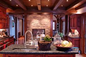furniture dark wood ceiling beams with stone wall and black