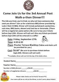 walkathon dinner order form proctor terrace elementary school