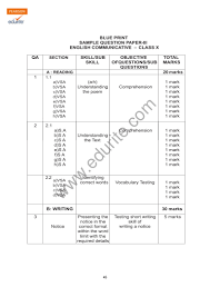class 10 cbse english communicative sample paper model 3 2009
