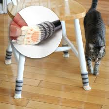 adorable grey tabby cat paw floor protecting chair socks