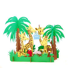 Jungle Birthday Card Birthday Jungle Pop Up Card Vietnam Custom 3d Cards Wholsale