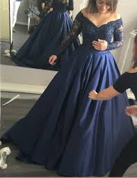 navy blue lace ball gown long sleeve prom dress custom made