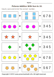 free preschool addition math worksheets