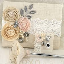 wedding guest book and pen set guest book blush ivory linen shabby chic wedding