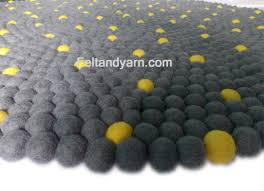 Wool Ball Rug Yellow Dot Grey Felt Ball Rug Felt Ball Rugs Handmade Felted