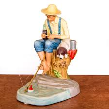 out fishing ceramic figurine by norman rockwell darby creek