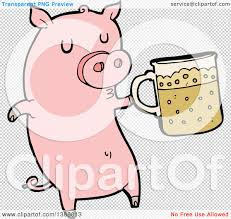cartoon beer no background clipart of a cartoon pink pig holding a beer royalty free vector