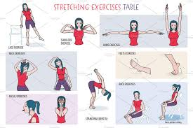 stretching exercises table illustrations creative market