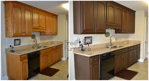 staining kitchen cabinets before and after oak cabinet makeover with general finishes antique walnut gel stain