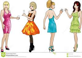 cocktail party cartoon four ladies in cocktail dresses royalty free stock photos image