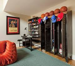 baseball locker room mural family room eclectic with sports