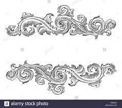 beautiful baroque style decorative calligraphy floral vector stock