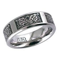 titanium celtic hound wedding ring