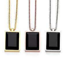aliexpress buy nyuk new fashion american style gold nyuk simple luxury black square gem small pendant necklace