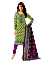 pick online cotton exclusive pista green and purple printed