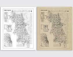 chicago map chicago neighborhood map etsy