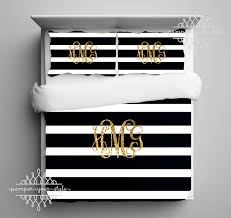 gold monogram bedding black and white stripe dorm comforter