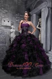 purple black quinceanera dress strapless taffeta organza