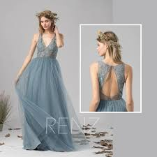 dusty wedding dress bridesmaid dress dusty blue tulle wedding dress illusion v neck