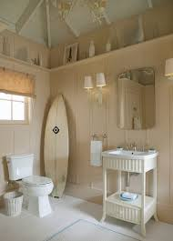 rustic beachy bathroom design with brown wood wall interior color