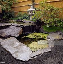 japanese style garden with rock edged pool small water fall