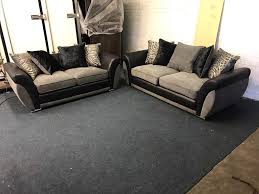 Scatter Back Cushions Designer Grey And Black Fabric 3 Plus 2 Seater Sofa Set Three Two