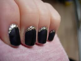 black nails with gold glitter reverse tip nail art nail design