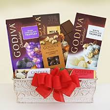 gourmet chocolate gift baskets godiva chocolate treat gift basket gourmet