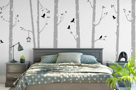 birch tree wall stickers with birds and bird house birch tree wall stickers grey