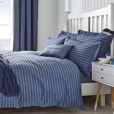 arlo seersucker blue duvet cover and pillowcase set dunelm