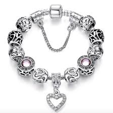 crystal heart charm bracelet images Dazzling crystal heart charm bracelet with pink austrian crystal jpg