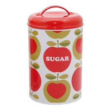 typhoon apple heart apron tea coffee sugar caddy bread bin tin